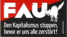 Aufkleber 24: Den Kapitalismus stoppen, bevor er uns alle zerstoert.