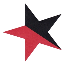 Aufkleber 13: Stern schwarz/rot gross